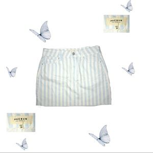 Pacsun skirt (baby blue and cream white stripes)